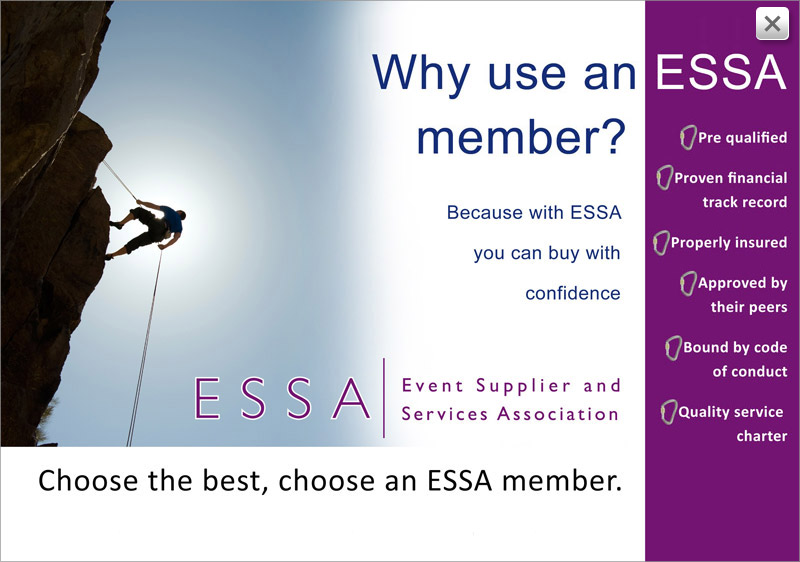 Expositionists are an ESSA approved stand contractor